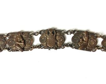 Vintage Copper Egyptian Scarab Beetle - Gods Panel Bracelet
