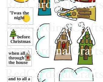 Card in a Box embellishments - Twas the night before christmas
