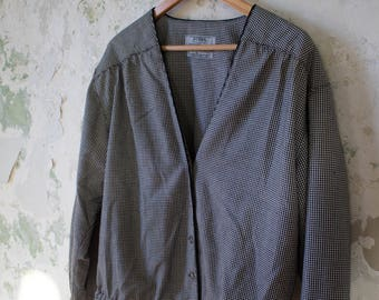 Vintage Gingham Jacket - 80s 1980s Guess - Black and White Coat Gingham Cardigan - M Medium