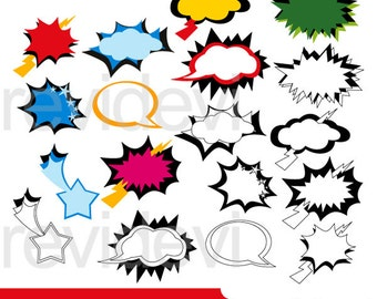 Superhero speech bubbles clipart sale - superhero comic talk bubble - digital clipart graphic - instant download