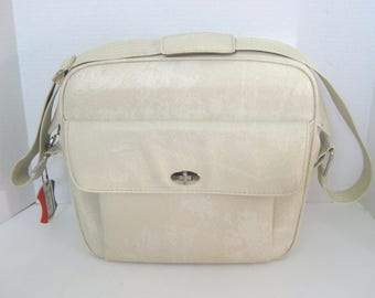 Vintage American Tourister Marbled Ivory Carry On Overnight Bag Luggage Travel