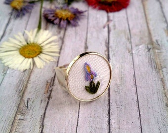 Iris flower ring Embroidery jewelry Silver ring Floral botanical jewelry Engagement ring Valentine's gift for girlfriend Boho ring