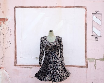 Vintage 1990s Black Crushed Velour Velvet Floral Baby Doll Cut Dress Mini  (Size Small/Medium)