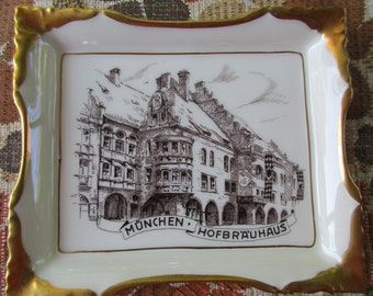 Munchen Hofbrauhaus PorcelainTray w Gold Edges  by Lindner Germany Numbered