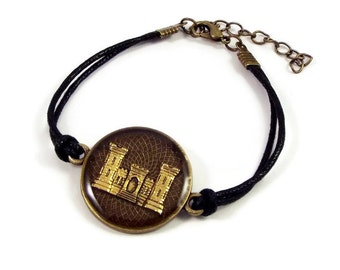 Vintage US Army Corps of Engineers Charm Bracelet - Mom Wife Fiance Girlfriend Volunteer Retirement Veteran Graduation Promotion Gift