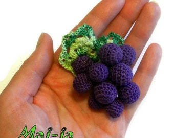 Toy grapes, crochet fruit, play food, kitchen decoration, eco-friendly toys ( 1 год +) - MajjaCrochet