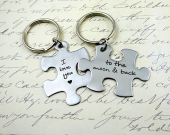 Puzzle Piece Love You to Moon & Back Couples Keychain or Necklace Set - His and Hers - Fiance BFF Boyfriend Husband Partner Fathers Da