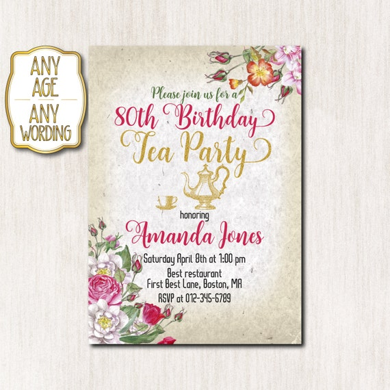 Wording for 80th birthday invitation images coloring pages adult 80th birthday tea party invitation tea party invitations filmwisefo