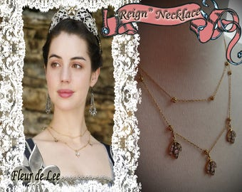 "Mary Queen of Scots ""REIGN"" Delicate Golden Rhinestone Necklace"