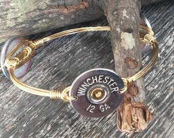 Bourbon & Boweties Inspired Bracelet.  Bohemian Silver 12-Gauge Winchester Shotgun Shell Wire Wrapped Bangle.