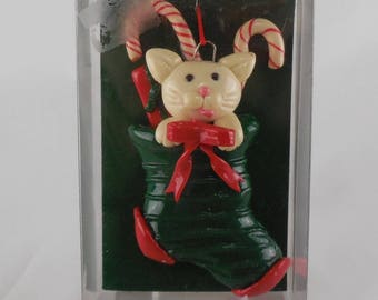 Vintage Enesco Christmas Ornament Kitty Cat in Stocking with Candy Canes and Bow