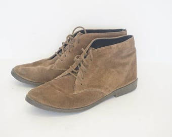 Vintage Buskens Tan Brown Suede Ankle Boots- Womens Size 6.5