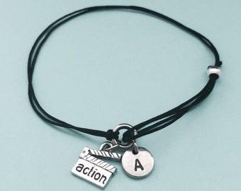 Clapperboard cord bracelet, clapperboard charm bracelet, adjustable bracelet, charm bracelet, personalized bracelet, initial, monogram