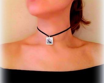 Black Choker Necklace, Unique Necklaces for Women, Velvet Choker, Pendant Necklace, Resin Jewelry, Gifts for Her, Wearable Art, ARTBYSANDRAV
