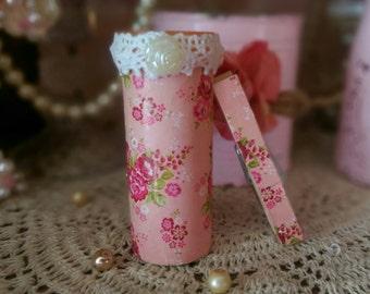 Shabby Cottage Chic Refrigerator Pen Holder or Bud Vase and Clothespin Clip Magnets Decoupage Pink Roses Rosebuds Dorm Kitchen Home Decor