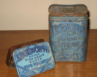 Vintage Pair of Edgeworth Blue Pipe Tobacco Tins