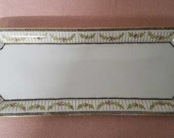Vintage Large Rectangle Hand Painted Nippon Serving Tray