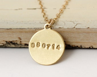 Stamped Date Necklace - Hand Stamped Date Necklace - Personalize Date Jewelry - Anniversary Date Necklace