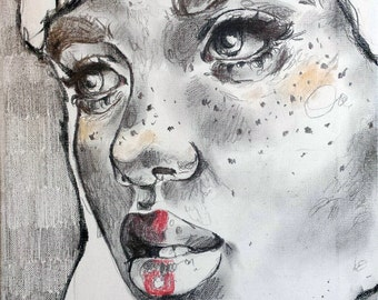 Untitled graphite and colored pencil portrait of a woman with freckles on canvas, UNFRAMED
