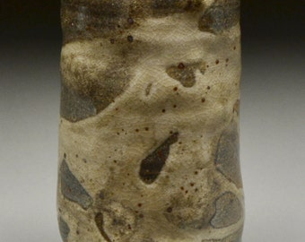 Handmade Stoneware Altered Wheel Thrown Vase Floral Container Glazed with Carbon Trap and White Shino