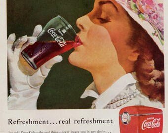 Drinking Coke 1949 vintage advertising Original Ad for Coca Cola to frame Beautiful girl drinking Coke