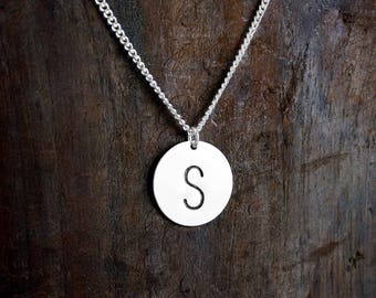 Initial Pendant, Stamped Necklace, Stamped Jewelry, Large Initial, Monogrammed, Statement Necklace, Bridesmaids Gifts, Special Surprise