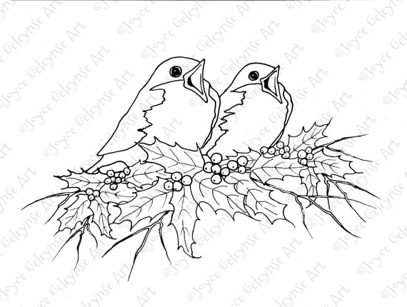 Digital Stamp Clip Art Christmas Singing Birds and Holly