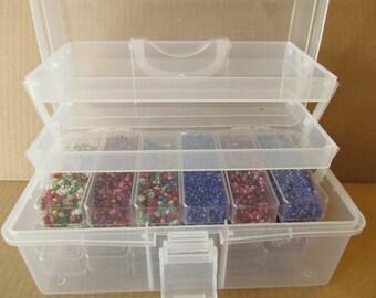 Beading Storage Case - 18 bead boxes and 2 trays - 18 beads storage boxes - Sewing storage boxes u003d & Sewing organizer | Etsy
