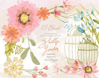 Shabby Garden Flowers Watercolor CLIPART- digital flowers, DIY invites, Clip art, scrapbooking, wedding invitations, florals scrap, clipart