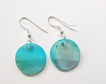 Blue aqua Mother of pearl shell disc earrings