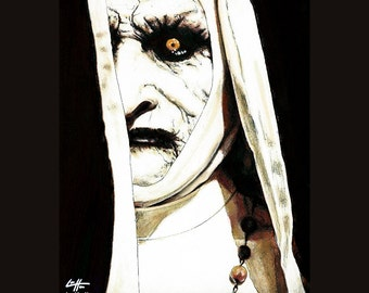 Print 8x10 - Valak The Demon Nun - The Conjuring 2 Supernatural Dark Art Lowbrow Haunted Bonnie Aarons Gothic Poltergeist Ghosts Paranormal