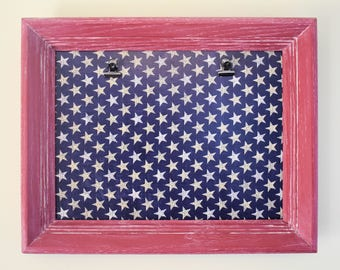 American Flag Picture Frame with Hinge Clips for Two 5x7 Pictures - Patriotic Decor - Americana Decor - Red Frame