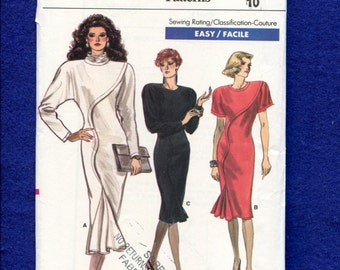 1980's Vogue 7039 Stunning Power Dress with Godet for Extra Flare Size 10 UNCUT