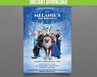 Disney Frozen Birthday Invitation - Instant Download and Edit with Adobe Reader