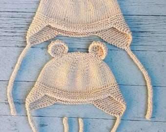 Hand knitting Cat and Bear Hat Pattern for newborn to child sizes