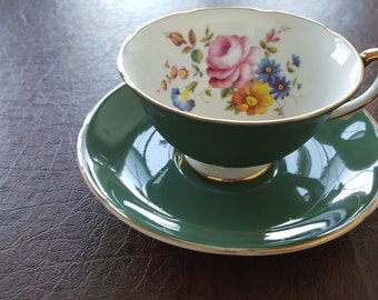 Royal Grafton Green Tea Cup & Saucer with Flowers made in England