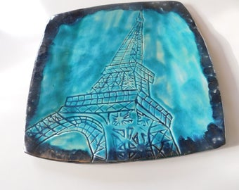 Ceramic plate PARIS Eiffel Tower in turquoise and brown