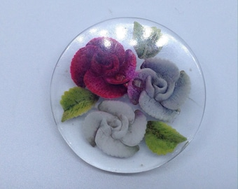 Reverse carved lucite brooch roses