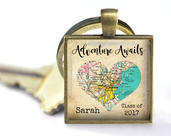Custom Map Pendant, Necklace or Key Chain for Graduation, New Job, Etc.  Adventure Awaits - Personalized with Name