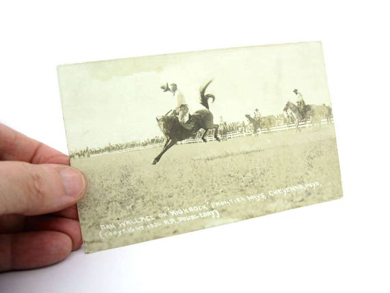 Vintage Rodeo Real Photo Airborne Cowboy Postcard