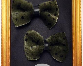 Green Polka Dot hair bow,Genuine Leather, part of the LUXE JUNGLE COLLECTION,Limited Edition