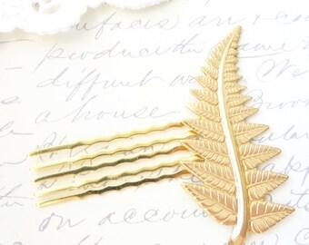 Goldenen Farn Blatt Haare kämmen - Gold Farn Blatt Haarkamm - Hochzeitshaarkamm - Braut Haar-Accessoire - Gold Farn Blatt Haar Pin - Blatt-Haar-Kamm