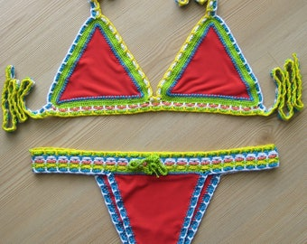 Fabric and Crochet Bikini, women swimwear, women swim suit, fabric and crochet swimwear, 2018 Summer Trends /// FORMALHOUSE