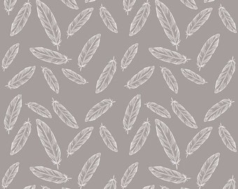 Feathers, Arrows and Triangles by Riley Blake - Feathers Grey - Cotton/Spandex Knit