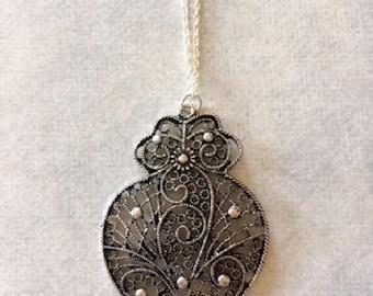 Silver Filigree Necklace - Gun Metal Necklace - Gun Metal Jewelry - Gun Metal Pendant - Lace Necklace - Lace Jewelry - Silver Lace Necklace
