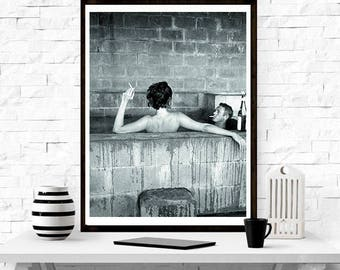 Steve McQueen and wife Neile Adams in a sulphur bath 1963, Home Decor, wall print, gift for him,