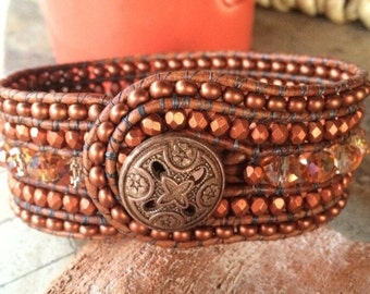 Handmade Beaded Cuff Bracelet, copper and crystal leather wrap (larger size)