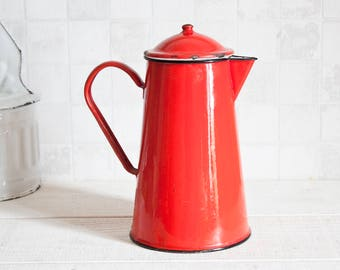 Vintage Japy red enamel 2L coffee pot - French mid century Coffee pot or teapot - Retro home decor
