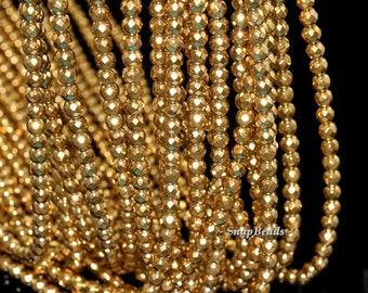 4mm Gold Hematite Gemstone Gold Faceted Round Loose Beads 16 inch Full Strand (90147044-148)