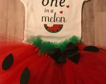 Watermelon first birthday outfit